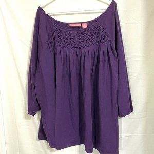 Woman Within Purple Short Sleeve Top T Shirt 5X